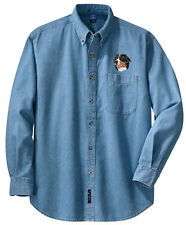 Bernese Mountain Dog Embroidered Denim Shirt - Sizes XS thru XL