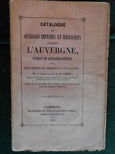 Benoît GONOD, Catalogue des ouvrages sur l'AUVERGNE - Clermont-Ferrand 1849