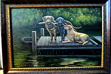 """OIL PAINTING """"GOOD OLE BOYS HAVING FUN"""" BY HESTER 36"""" X 24"""" *HELP SAVE ANIMALS*"""