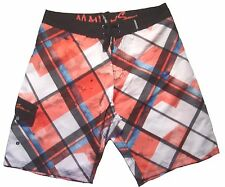 Men's Maui & And Sons Honcho Plaid Board Shorts Boardshorts Red Size 36