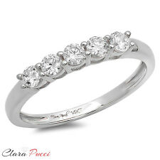 0.60 CT Round Cut 5-Stone Engagement Wedding Ring Band SOLID 14K White Gold