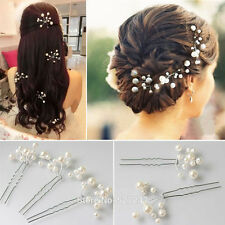 New 6 Pcs Wedding Bridal bridesmaid Pearl Flower Headpiece Hair Pin