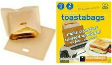 REUSABLE TOASTABAGS SANDWITCH TOASTER TOASTIE BAG BAGS TOAST BREAD NEW PACK OF 2