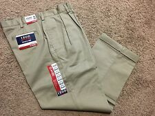 NWT IZOD American Chino Classic-Fit Wrinkle-Free Khaki Double Pleat Pant 36X29