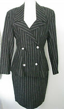PATRICK KELLY*VINTAGE 80'S* Gray Striped Skirt Suit/ Dice Buttons US 10 / FR 42