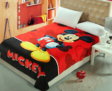 150*200cm New Mickey Mouse Soft Silky Throws Flannel Blanket Bedding Rug