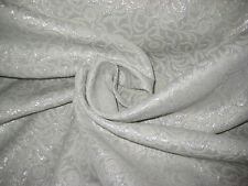 "Natural Silver Metallic Motif  Acetate Brocade Jacquard Fabric 62"" Wide  BTY"
