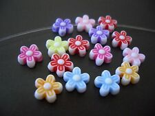 100 cute 8mm Flower Multicolor acrylic plastic loose beads