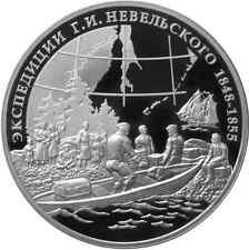 RUSSIA: 3 rublos plata 2013 proof Research Expeditions of G.I. Nevelskoy - 1 oz.