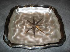 """VINTAGE WMF IKORA SILVER ON BRASS 9-1/2"""" SQUARE FOOTED BOWL"""