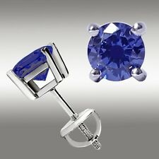 1.05 CT TANZANITE STUD EARRINGS 14K WHITE GOLD SCREW BACK 5MM Great Holiday Gift