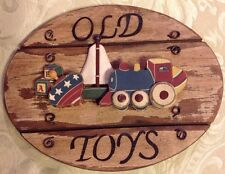 "Old Toys Wooden Sign Train, Boat, Top & ABC 8.5"" X 6.5"""