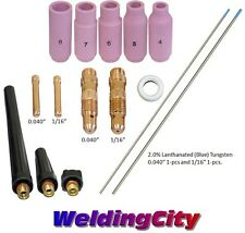 TIG Welding Torch 17/18/26 Kit Collet Body-Cup-Tungsten .040-1/16 T55B US Seller