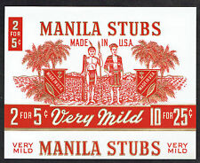 Manila Stubs Cigar Box Label Gilt Palms & Natives Very Mild 2 for 5 cents Mint