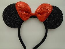 MINNIE MOUSE EARS Headband Black Sparkle Shimmer - Red Sequin Bow Mickey