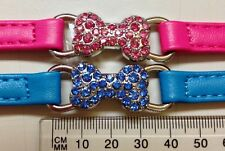 Crystal Bone Bow Tie on a Collar for a Diva Puppy or Dog - Faux Leather Strap