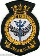 801 Naval Air Squadron Royal Navy Embroidered Crest Badge Patch MOD Approved