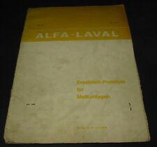 Preisliste Ersatzteile Alfa Laval Melkanlagen Stand 1968 / 1969