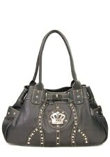 Black Western Rhinestone Celebrity  Faux Leather Crown Buckle Handbag Purse