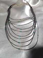 BEAUTIFUL VINTAGE NAVAJO TURQUOISE 10 STRAND LIQUID SILVER  BEAD NECKLACE
