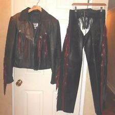 WOMEN'S BLACK MOTORCYCLE LEATHER JACKET & CHAPS WITH SILVERTONE ACCENTS & FRINGE