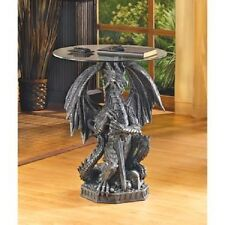 Medieval Fierce Dragon Glass Topped Sculptural Gothic Accent Table
