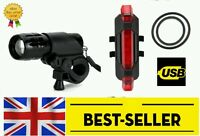 front+rear 5 led rechargeable light set - very bright lights mountain road bike