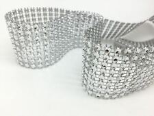"1.5"" x 30 FT(10 YD) Diamond Mesh Wrap Crystal Roll Ribbon Rhinestone Wedding"