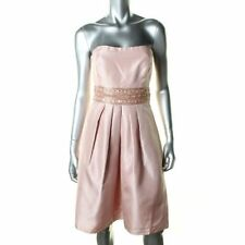 JS BOUTIQUE USA Pink SHANTUNG SILK Party Cocktail Prom Dress US10 UK 12 NWT