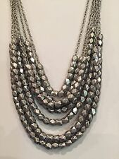 Eye Catching Bold Silver tone Multi - Chain Heavy Statement Necklace Abt 26""