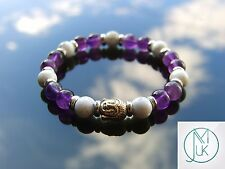 Buddha White Howlite/Dark Amethyst Natural Bracelet Beaded 7-8'' Elasticated