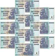 Zimbabwe 1x 100 Trillion Dollars Notes UNC 2008 Inflation Currency AA