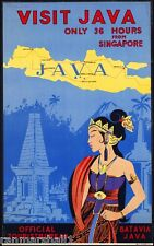 Visit India - Java - Batavia Vintage India Travel Advertisement Poster Art