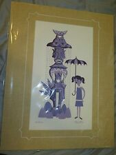 SHAG Signed Disney Matted Serigraph Tiki Room 50th Anniversary Hina and Hayley