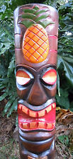 "39"" Hand Carved Pineapple Top Tiki Totem Pole Hawaiian Polynesian Decor"