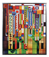 Frank Lloyd Wright Saguaro Forms Cactus Flowers Stained Art Glass Metal Framed