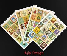 ITALY STAMP STICKERS Vintage Craft Travel Diary Paper Italian Venice Rome Europe