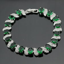 "Silver, Emerald Green And White Topaz 11ct Tennis Bracelet 7-8"" Adjustable"