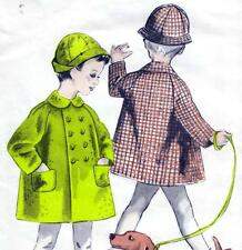 """RARE Vintage 60s CHILDS COAT & HAT Sewing Pattern FF UNCUT 5 & 6 Years CHEST 26"""""""