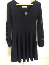 Abercrombie & Fitch Dress S Black Floral Lace V-neck Long Sleeve New
