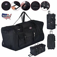 """Rolling Wheels Tote Duffle Bag Luggage Durable Large 36"""" Sports Travel Suitcase"""
