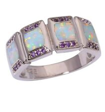 Size:8:Q 925 Sterling Silver White Fire Opal & Amethyst Ring.  UK STOCK
