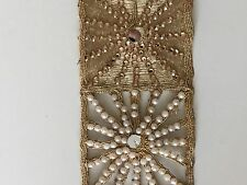 ATTRACTIVE INDIAN JALI GOLD PEARLS CRYSTALS MIRRORS LACE/TRIM - Sold By Meter