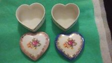 VINTAGE PORCELAIN DRESDEN GERMANY GDR HIS & HERS PAIR OF TRINKET BOXES