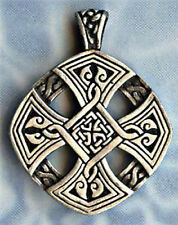 CELTIC CROSS PEWTER PENDANT STAINLESS STEEL BALL CHAIN NECKLACE-IRISH JEWELRY