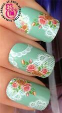 NAIL ART WATER TRANSFERS DECALS STICKERS DECORATION WHITE LACE ROSE FLOWERS #181