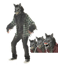 Werewolf Wolf Complete Costume &  Mask Adult Halloween Moving Bares Teeth