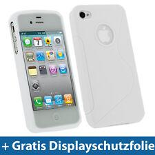 Weiß Weiss Gel TPU Tasche für Apple iPhone 4 HD 4S 16GB 32GB 64GB Schutz Hülle E