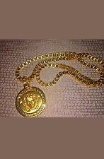 New Gianni Versace Medusa Head Chain Gold Plated Necklace