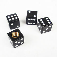 4 Pcs Black Dice Style Universal Wheel Tire Valve Stems Caps Air Dust Covers
